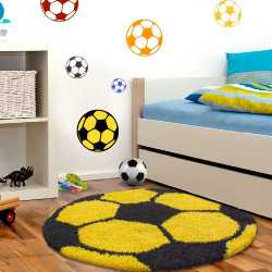 Fun Teppich Kinderteppich Kinderzimmer Fussball 6001 Yellow
