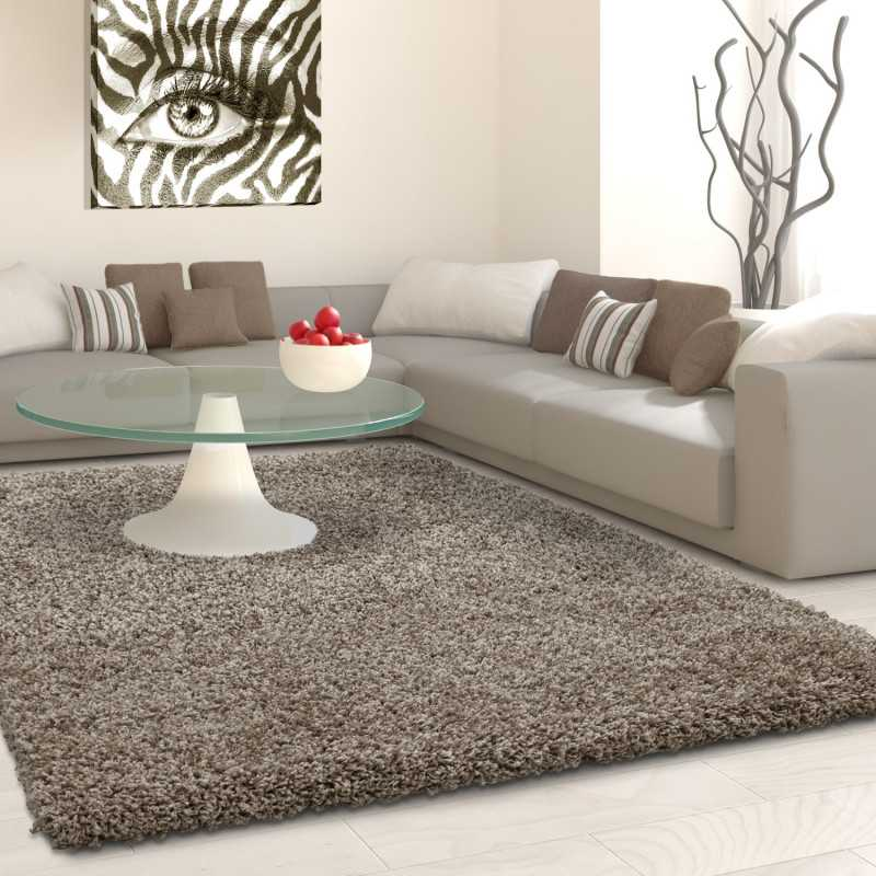 hochflor langflor wohnzimmer shaggy teppich florh he 3cm unifarbe taupe. Black Bedroom Furniture Sets. Home Design Ideas